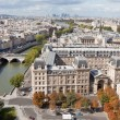 Постер, плакат: Top view river Seine downtown tower Eiffel in Paris France