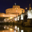 Tiber bank, bridge, landmark medieval castle Saint Angel Rome It — Stock Photo
