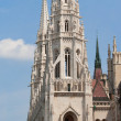 Steeple gothic towers of Hungariuan landmark Parliament in Budap - Stock Photo
