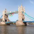 Tower bridge decorated with Olympic rings London 2012 UK — Stock Photo #15340399