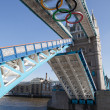 Tower bridge decorated with Olympic rings London 2012 UK — Stock Photo #15340411