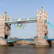 Tower bridge decorated with Olympic rings London 2012 UK — Stock Photo #15340413