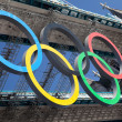 Stock Photo: Tower bridge decorated with Olympic rings London 2012 UK