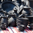 Handmade ceramic pottery at street handicraft market — Stock Photo