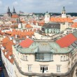 Постер, плакат: Top view cityscape on old Prague district tiled mansard roofs