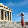 Child points to Ancient Parthenon Facade in Acropolis Athens Gr — Stock Photo #15341245