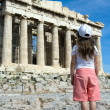 Child in front of Ancient Parthenon in Acropolis Athens Greece — Stock Photo