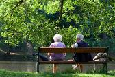 Senior couple on the bench near lake in park — Stock Photo