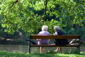 Grandparents are talking on the bench in the spring park — Stock Photo