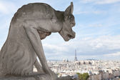 Gargoyle Statue cathedral Notre Dame, top view on tower Eiffel — Stock Photo