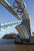 Tower bridge decorated with Olympic rings London 2012 UK — Stock Photo