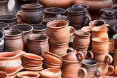 Terracota cerâmica canecas lembranças rua feirinha de artesanato — Foto Stock