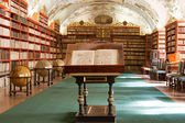 Library, Ancient books, globes in Stragov monastery Czech Republ — Stock Photo