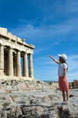 Child points to Ancient Parthenon Facade in Acropolis Athens Gr — Stock Photo