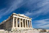 Ancient Parthenon in Acropolis Athens Greece on blue sky backgro — Stock Photo