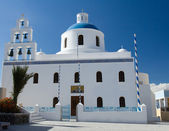 Traditional White Church of panagia of platsani Oia island Santo — Stock Photo