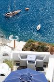 Sea view on yacht from restaurant's terrace Santorini island, — Stock Photo