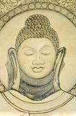 Mural de budistas, perto de templo em sarnath — Foto Stock