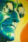 Detalle de arte graffiti en una pared de la calle — Foto de Stock