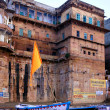 ghats traditional architecture in ancient city of varanasi — Stock Photo