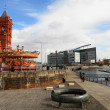 Stock Photo: Cardiff bay view whit train station museum in left side