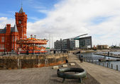 Cardiff bay view whit train station museum in the left side — Stock Photo