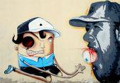 Graffiti dibujo en un parque público — Foto de Stock