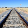 Stock Photo: Namibian desert railway line perspective