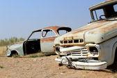 Eski ve paslı kazası namib önce son gaz istasyonu — Stok fotoğraf