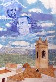 Painted Mural at Plaza D. Manuel Miro. Calp, Sapin. — Stock Photo