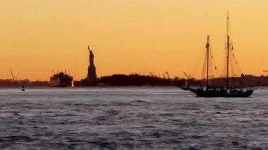 Statue of Liberty sculpture, on Liberty Island in the middle of — Stock Video
