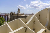 Panoramic view in the top of Metropol Parasol in Plaza de la Encarnacion on 31 of May 2014 in Sevilla,Spain. — Stock Photo