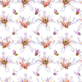 Watercolor seamless pattern with Freesia — Stock Photo
