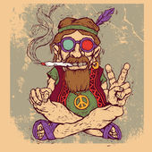 Old hippie smokes marijuana and shows the peace symbol. color version. — Stockvector
