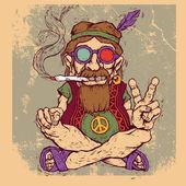 Oude hippie rookt marihuana en toont het symbool van de vrede. kleurenversie. — Stockvector