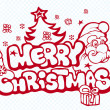 Xmas banner with Santa, snowflakes and gift — Imagen vectorial