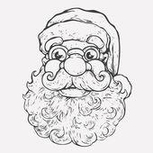 Santa Claus portrait. Monochrome Hand Drawn. — Stock Vector