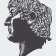 Sculpted head of the Roman Emperor Constantine. vector illustration - Stock Vector