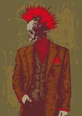 Punk skull in the men's suit. — Stock Vector