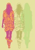 女性时装模特。绘图样式。矢量插画 — 图库矢量图片