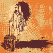 Background with young girl travelling. vector illustration for CD cover — 图库矢量图片