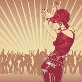 Dansende meisje en partij volkeren. — Stockvector