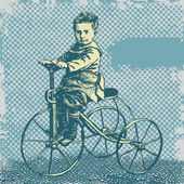Boy on retro bicycle and grunge textures — Stock Vector
