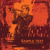 Vector illustration with jazz trumpeter in grunge style. — Stock Vector