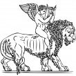 Angel with lyre to lion. elements of design in the imperial style. - Stock Vector