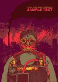 Air pollution, man in respirator mask, vector illustration — Stock Vector