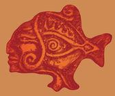 Aztec ryb w stylu ryciny. — Wektor stockowy
