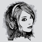 Pretty girl with headphones. vector illustration — Vector de stock