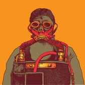 Air pollution, man in respirator mask — Stock Vector