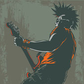 Punk guitar player in grunge style — Stock Vector